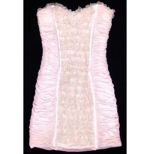 BEBE Pink Romantic Shirred Strapless Mini Dress S